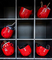 22 September 2018: A collection of the Washington Nationals batting helmets are in the dugout ready to be used in a game against the New York Mets at Nationals Park in Washington, DC. The Nationals shut out the Mets 6-0 in the 3rd game of their 4-game series. Mandatory Credit: Ed Wolfstein Photo *** RAW (NEF) Image File Available ***