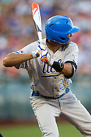 UCLA outfielder Brian Carroll (24) at bat against the North Carolina State Wolfpack during Game 8 of the 2013 Men's College World Series on June 18, 2013 at TD Ameritrade Park in Omaha, Nebraska. The Bruins defeated the Wolfpack 2-1, eliminating North Carolina State from the tournament. (Andrew Woolley/Four Seam Images)