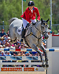 April 27, 2014: RF SMOKE ON THE WATER, ridden by Marilyn Little (USA), competes in the Stadium Jumping Finals at the Rolex Kentucky 3-Day Event at the Kentucky Horse Park in Lexington, KY. Scott Serio/ESW/CSM