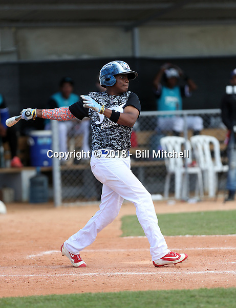 Starling Aguilar participates in an international showcase hosted by JDB Baseball at the Quality Baseball Academy on February 20, 2018 in Santo Domingo, Dominican Republic (Bill Mitchell)