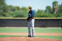 Milwaukee Brewers relief pitcher Luis Gonzalez (87) gets ready to deliver a pitch during an Instructional League game against the San Diego Padres at Peoria Sports Complex on September 21, 2018 in Peoria, Arizona. (Zachary Lucy/Four Seam Images)