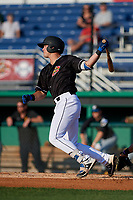 Batavia Muckdogs Nic Ready (51) bats during a NY-Penn League game against the West Virginia Black Bears on June 25, 2019 at Dwyer Stadium in Batavia, New York.  Batavia defeated West Virginia 7-3.  (Mike Janes/Four Seam Images)