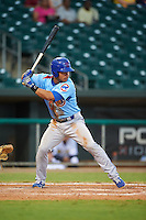 Tennessee Smokies designated hitter Willson Contreras (40) at bat during a game against the Montgomery Biscuits on May 25, 2015 at Riverwalk Stadium in Montgomery, Alabama.  Tennessee defeated Montgomery 6-3 as the game was called after eight innings due to rain.  (Mike Janes/Four Seam Images)