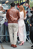 NEW YORK, NY- October 12: Oscar Isaac and Jessica Chastain seen after an appearance on The View promoting HBOMAX's Scenes From A Marriage on October 12, 2021 in New York City. <br /> CAP/MPI/RW<br /> ©RW/MPI/Capital Pictures