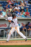 Pensacola Blue Wahoos second baseman Ryan Wright (6) at bat during the second game of a double header against the Biloxi Shuckers on April 26, 2015 at Pensacola Bayfront Stadium in Pensacola, Florida.  Pensacola defeated Biloxi 2-1.  (Mike Janes/Four Seam Images)