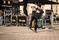 UK Weather: Aberystwyth, Ceredigion, West Wales <br />A young man skate boarding on Aberystwyth promenade.