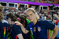 HOUSTON, TX - JUNE 13: Lindsey Horan #9 and the USWNT huddle up during a game between Jamaica and USWNT at BBVA Stadium on June 13, 2021 in Houston, Texas.