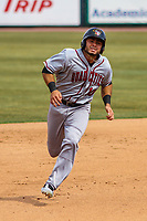 Quad Cities River Bandits infielder Alexander De Goti (10) races to third during a Midwest League game against the Wisconsin Timber Rattlers on April 9, 2017 at Fox Cities Stadium in Appleton, Wisconsin.  Quad Cities defeated Wisconsin 17-11. (Brad Krause/Four Seam Images)