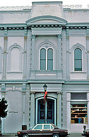 Eureka CA:  Mansard-roofed Office Building, late 1870's. NE Corner, 2nd & F Street.  Photo '83.