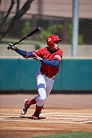 Kia Tigers Oh Joon-hyuk (50) bats during an Instructional League game against the Colorado Rockies on October 5, 2016 at Salt River Fields at Talking Stick in Scottsdale, Arizona.  (Mike Janes/Four Seam Images)