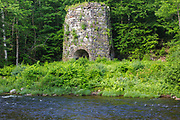 Stone Iron Furnace site in Franconia, New Hampshire. Originally built in the early 1800s this is the only blast furnace still standing in New Hampshire. It was used for smelting iron ore.