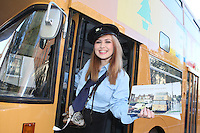 """NO FEE. 20/10/2010. Vintage CIE Double Decker Bus Makes One Last Stop . Beautiful 'conductor' Jane Kendlin is pictured in full conductor's uniform to mark the launch oftwo new books on CIE Buses in the 1970's and 1980's, avintage CIE double decker bus, outside the Mansion House on Dawson Street, Dublin.he coffee table books have been published by PRC Publications, a new transport publications company based in Dublin, and feature a miscellany of photographs of Irish buses and street scenes in both rural and urban locations, taken by Ed O'Neill from mid 1970 to mid 1980. A self-confessed """"bus nut"""", O'Neill has compiled the two books which will appeal to both enthusiasts and the general public alike. Urban street scenes, including traffic on Dublin's Grafton Street, will remind readers of a time long gone when traffic regulations were far more relaxed and beautiful buildings stood tall, many of which are sadly no longer in existence. The books, 'CIE Buses in the 1970s and 80s - Double Deckers' and 'CIE Buses in the 1970s and 80s - Single Deckers'are priced at EUR25.00 per book (or both books for EUR45.00) and are available from Mark's Models branches or online atwww.prcpublications.com. Picture James Horan/Collins Photos"""