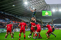 Alun Wyn Jones of Ospreys claims the lineout during the Heineken Champions Cup Round 5 match between the Ospreys and Saracens at the Liberty Stadium in Swansea, Wales, UK. Saturday January 11 2020.
