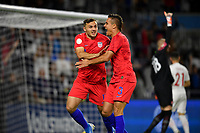 ORLANDO, FL - NOVEMBER 15: Jordan Morris #11 of the United States scores a goal and celebrates with teammate Aaron Long #3 during a game between Canada and USMNT at Exploria Stadium on November 15, 2019 in Orlando, Florida.