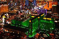 aerial photograph night time MGM Grand, Las Vegas, Clark County, Nevada