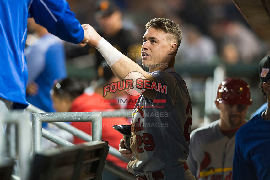 Surprise Saguaros second baseman Andy Young (29), of the St. Louis Cardinals organization, fist bumps a teammate in the dugout during an Arizona Fall League game against the Scottsdale Scorpions at Scottsdale Stadium on October 15, 2018 in Scottsdale, Arizona. Surprise defeated Scottsdale 2-0. (Zachary Lucy/Four Seam Images)
