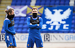 St Johnstone Training...21.05.21<br />Liam Craig and Stevie May pictured during training at McDiarmid Park this morning ahead of tomorrow's Scottish Cup Final against Hibs.<br />Picture by Graeme Hart.<br />Copyright Perthshire Picture Agency<br />Tel: 01738 623350  Mobile: 07990 594431