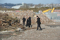 Pictured: Police search teams search wasteground near industrial units between the River Usk and Corporation Road in Newport. STOCK PICTURE<br />