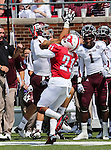 Texas A&M Aggies wide receiver Mike Evans (13) and Southern Methodist Mustangs defensive back Kenneth Acker (21) in action during the game between the Southern Methodist Mustangs and the Texas A&M Aggies at the Gerald J. Ford Stadium in Dallas, Texas. Texas A & M defeats SMU 48 to 3..