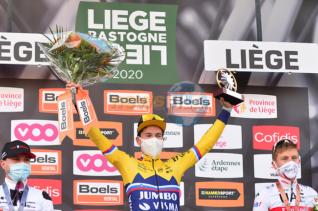 Primoz Roglic (SLO) Team Jumbo-Visma wins with Marc Hirschi (SUI) Team Sunweb promoted to 2nd place and Tadej Pogacar (SLO) UAE Team Emirates in 3rd at the end of Liege-Bastogne-Liege 2020, running 257km from Liege to Liege, Belgium. 4th October 2020.<br /> Picture: ASO/Gautier Demouveaux | Cyclefile<br /> All photos usage must carry mandatory copyright credit (© Cyclefile | ASO/Gautier Demouveaux)
