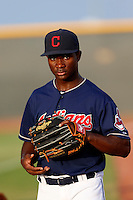 Silento Sayles #1 of the AZL Indians before a game against the AZL Giants at the Cleveland Indians Training Complex on July 11, 2013 in Goodyear, Arizona. AZL Giants defeated the AZL Indians, 19-3. (Larry Goren/Four Seam Images)