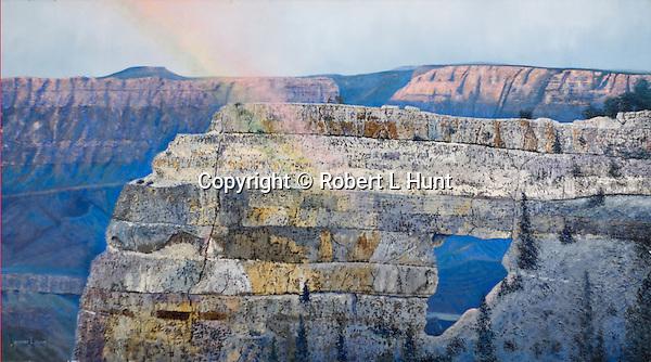 "Angel's Rainbow in Arizona's Grand Canyon National Park. Oil on canvas, 20"" x 36""."