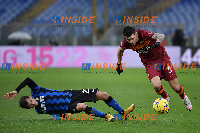 Nicolo' Barella of Inter and Roger Ibanez of Roma  during the Serie A football match between AS Roma and FC Internazionale at Olimpico stadium in Roma (Italy), January 10th, 2021. Photo Andrea Staccioli / Insidefoto