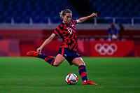 SAITAMA, JAPAN - JULY 24: Abby Dahlkemper #17 of the United States plays a long ball during a game between New Zealand and USWNT at Saitama Stadium on July 24, 2021 in Saitama, Japan.