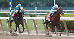 June 8, 2013. #1A Fast Bullet, ridden by Joel Rosario and  trained by Bob Baffert, wins race seven,the grade II RTN True North, six furlongs for three-year-olds and upward. #1 Justin Phillip, John Velazquez up, is second. Both are owned by Zayat Stables. Fast Bullet trained by Bob Baffert, Justin Phillip by Steve Asmussen. Belmont Park, Elmont, New York (Joan Fairman Kanes/Eclipse Sportswire)