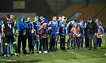 St Johnstone v Hibs…16.03.18…  McDiarmid Park    SPFL<br />Disabled supporters line up with the teams prior to kick off<br />Picture by Graeme Hart. <br />Copyright Perthshire Picture Agency<br />Tel: 01738 623350  Mobile: 07990 594431