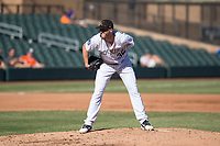 Salt River Rafters relief pitcher Mitch Horacek (32), of the Colorado Rockies organization, looks in for the sign during an Arizona Fall League game against the Glendale Desert Dogs at Salt River Fields at Talking Stick on October 31, 2018 in Scottsdale, Arizona. Glendale defeated Salt River 12-6 in extra innings. (Zachary Lucy/Four Seam Images)