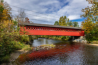 Charming Henry Covered Bridge, Bennington, Vermont, USA.