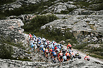 The peloton in action during Stage 1 of the 2018 Artic Race of Norway, running 184km from Vadso to Kirkenes, Norway. 16th August 2018. <br /> <br /> Picture: ASO/Pauline Ballet | Cyclefile<br /> All photos usage must carry mandatory copyright credit (© Cyclefile | ASO/Pauline Ballet)
