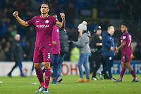 Danilo of Manchester City cheers with the traveling fans during the Fly Emirates FA Cup Fourth Round match between Cardiff City and Manchester City at the Cardiff City Stadium, Wales, UK. Sunday 28 January 2018