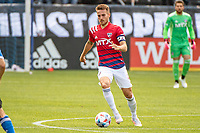 SAN JOSE, CA - APRIL 24: Bressan #4 of FC Dallas dribbles the ball during a game between FC Dallas and San Jose Earthquakes at PayPal Park on April 24, 2021 in San Jose, California.