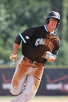 The Coastal Carolina University Chanticleers third baseman Scott Woodward #10 running to third base and eventually scoring during the 2nd and deciding game of the NCAA Super Regional vs. the University of South Carolina Gamecocks on June 13, 2010 at BB&T Coastal Field in Myrtle Beach, SC.  The Gamecocks defeated Coastal Carolina 10-9 to advance to the 2010 NCAA College World Series in Omaha, Nebraska. Photo By Robert Gurganus/Four Seam Images