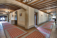 BNPS.co.uk (01202 558833)<br /> Pic: Savills/BNPS<br /> <br /> Pictured: The hallway.<br /> <br /> A stunning historic castle with views across the Channel to France is on the market for £11m.<br /> <br /> Grade I Listed Lympne Castle dates back to the 13th century and hosted everyone from archbishops and prime ministers to celebrities including Mick Jagger and Sir Paul McCartney.<br /> <br /> The striking property in Hythe, Kent, has such incredible views it was used during the Second World War to spot V1 rockets in Calais on a clear day, allowing coastline guns to be ready to shoot down the rockets over Hythe Bay.<br /> <br /> The grand home, which has been run as a wedding and events venue for the past 20 years, is on the market with Savills.