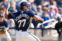 March 13, 2010 - Milwaukee Brewers' Scott Schoeneweis (#77) during a spring training game against the Colorado Rockies at Maryvale Baseball Park in Maryvale, Arizona.