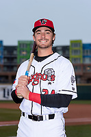 Lansing Lugnuts catcher Hagen Danner (24) poses for a photo before a Midwest League game against the Wisconsin Timber Rattlers at Cooley Law School Stadium on May 2, 2019 in Lansing, Michigan. (Zachary Lucy/Four Seam Images)