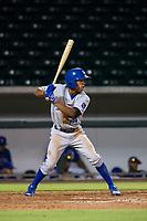 AZL Royals left fielder Tyler James (14) at bat against the AZL Cubs on July 19, 2017 at Sloan Park in Mesa, Arizona. AZL Cubs defeated the AZL Royals 5-4. (Zachary Lucy/Four Seam Images)