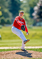 1 September 2019: Retired Major League Baseball and now Burlington Cardinal pitcher Bill Lee on the mound against the Waterbury Warthogs at Burlington High School in Burlington, Vermont. The Warthogs edged out the Cardinals 2-1 to end the regular season of league play. Mandatory Credit: Ed Wolfstein Photo *** RAW (NEF) Image File Available ***