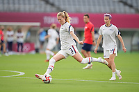 TOKYO, JAPAN - JULY 20: Samantha Mewis #3 of the United States takes a shot during a game between Sweden and USWNT at Tokyo Stadium on July 20, 2021 in Tokyo, Japan.