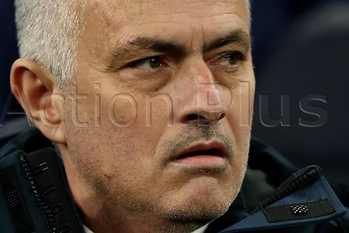 19th February 2020; Tottenham Hotspur Stadium, London, England; UEFA Champions League Football, Tottenham Hotspur versus Red Bull Leipzig; Tottenham Hotspur Manager Jose Mourinho looks on anxiously