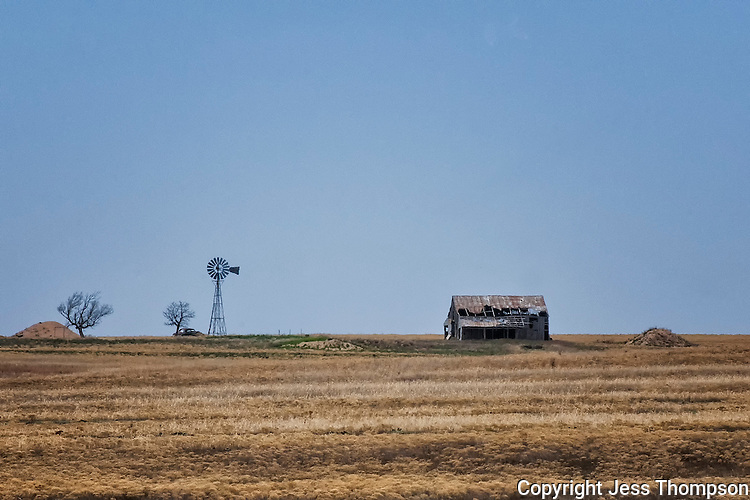 Windmill and Old Barn, Texas Panhandle