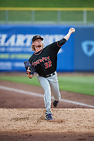 Albuquerque Isotopes starting pitcher Sam Howard (32) warms up in the bullpen before the game against the Salt Lake Bees at Smith's Ballpark on April 8, 2018 in Salt Lake City, Utah. Albuquerque defeated Salt Lake 11-4. (Stephen Smith/Four Seam Images)