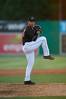 Batavia Muckdogs relief pitcher Jonaiker Villalobos (20) during a NY-Penn League game against the West Virginia Black Bears on June 27, 2019 at Dwyer Stadium in Batavia, New York.  West Virginia defeated Batavia 6-5 in ten innings.  (Mike Janes/Four Seam Images)