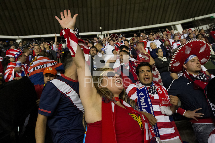USA fans cheer on their team during the USA vs. Mexico World Cup Qualifier at Azteca stadium in Mexico City, Mexico on March 26, 2013.
