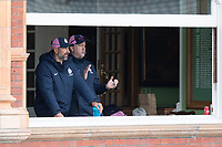 Coach Stuart Law Applauds the wicket of Bracey straight after the tea interval during Middlesex CCC vs Gloucestershire CCC, LV Insurance County Championship Group 2 Cricket at Lord's Cricket Ground on 7th May 2021