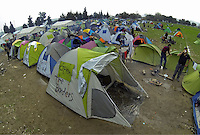 Pictured: General view of the camp Tuesday 01 March 2016<br /> Re: Thousands of migrants, still stranded at the Greek FYRO Macedonian border in Idomeni, Greece