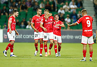 18th April 2021; HBF Park, Perth, Western Australia, Australia; A League Football, Perth Glory versus Wellington Phoenix; Benjamin Waine of Wellington Phoenix celebrates his 56th minute goal with teamates after he put the Phoenix up 0-1